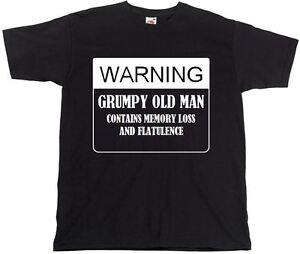 WARNING GRUMPY OLD MAN FUNNY PRINTED MENS T SHIRT GRANDAD DAD NOVELTY GIFT IDEA