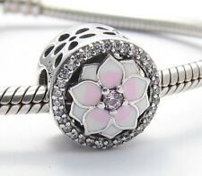 MAGNOLIA FLOWER CHARM Bead Sterling Silver.925 for European Bracelet 502