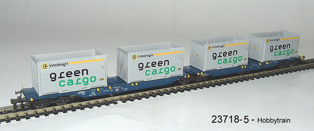 HOBBYTRAIN 23718-5 Ein VAGONE CONTAINER SGGMRS 715 DB AG   VERDE Cargo    NUOVO