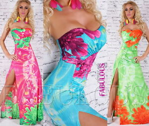 New-Sexy-Padded-Strapless-Floral-Maxi-Dress-Size-8-10-Front-Split-Stretchy-Hot