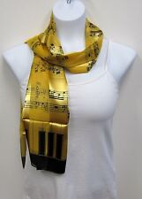 GOLD Music Note Sheet Music Piano Keyboard Print Scarf # 501 Choir Band New