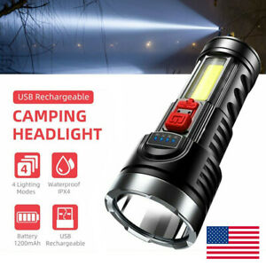 90000LM LED Tactical Hiking Camping Flashlight Torches USB Rechargeable Bright