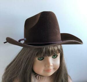 Cowboy-Hat-Brown-Flocked-for-18-034-Dolls-American-Girl-Cowgirl-Vintage-New