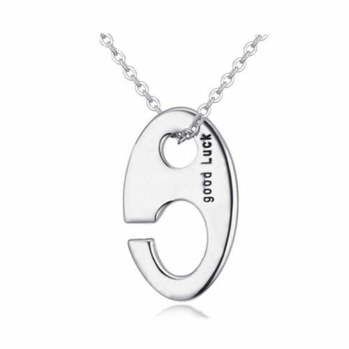 """925 Silver Plt /'Good Luck/' Lucky Charm Hook Symbol Engraved Necklace 18/"""" A"""
