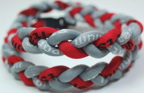 "SALE 20/"" 3 Rope Twist Titanium Sport Necklace Gray Red Tornado Baseball"