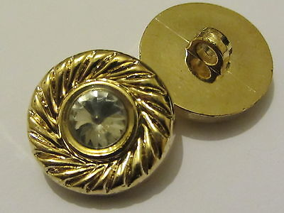 SET OF 8 ORNATE GOLD SHANK BUTTONS DIAMANTE CENTRE 18mm sewing (PB33) VINTAGE