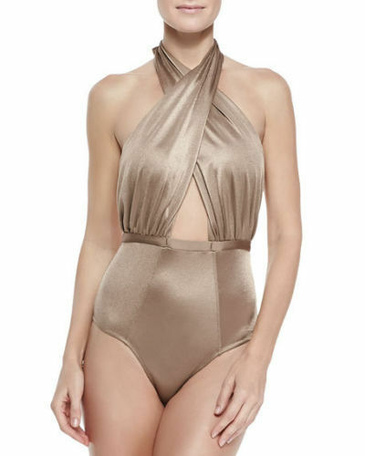NEW  151 6 SHORE ROAD by Pooja Cabana Halter One-Piece Shimmer Bronze Medium