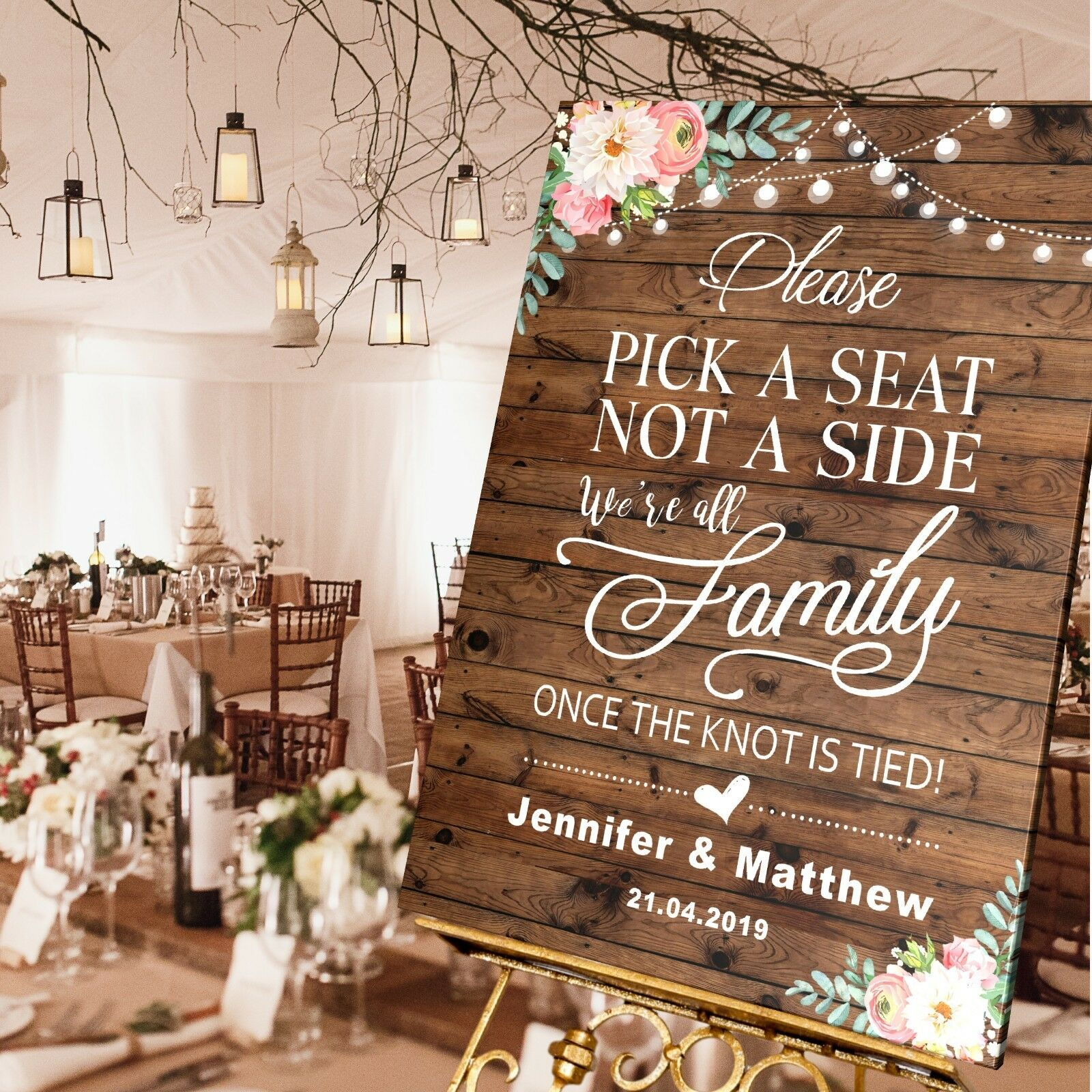 Personalised Wedding Pick a Seat not a Side Sign  A1   A2   A3 Größes