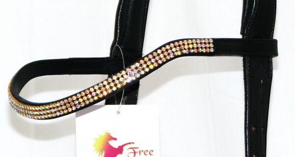 FSS 3 row Crystal POSH Curve Shape U Bling CLEAR AB GOLD German Leather Browband