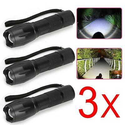 3x LED Polizei Taschenlampe SwatT6 Wiederaufladbare Zoom Licht 10000Lumens DHL