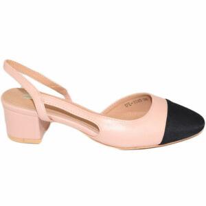 Scarpe donna mules ballerine con tacchetto 3 cm tallone scoperto beige con punta