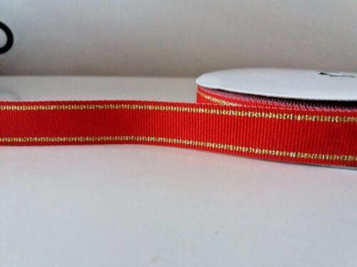 """approx. 1.83 m de Ancho Navidad Rojo//Oro tejido a rayas cinta de doble cara 5//8/"""" 2 YD 16 mm"""