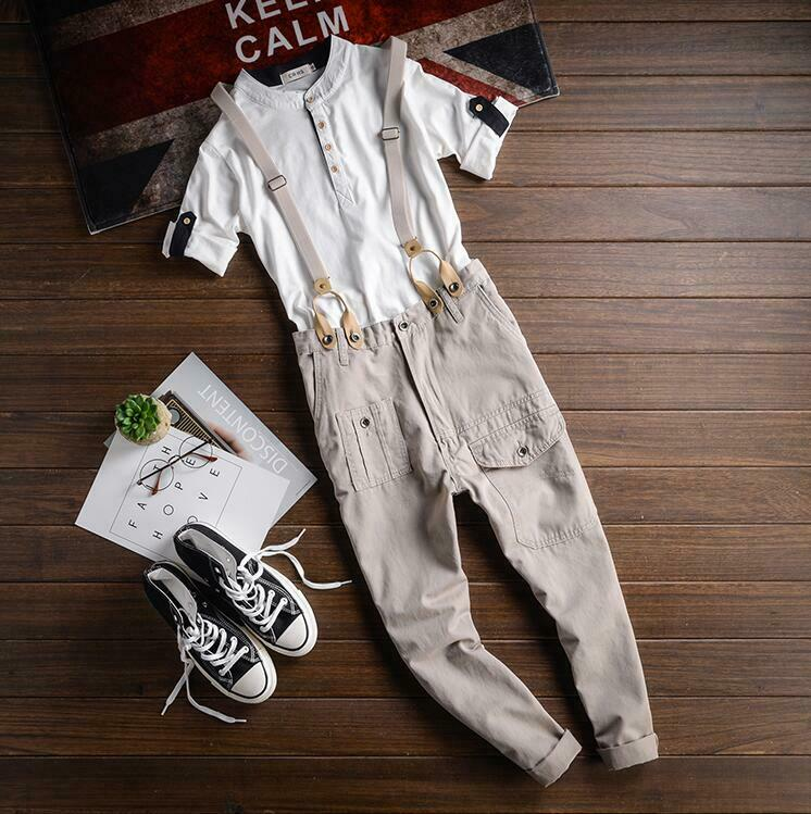 Mens Tapered Ankle Pants Cropped  Bib Suspender Trousers Detachable Braces 4XL A