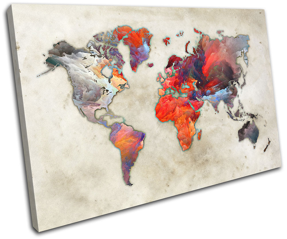 World Atlas Paint Colourful Maps Flags SINGLE TOILE murale ART Photo Print