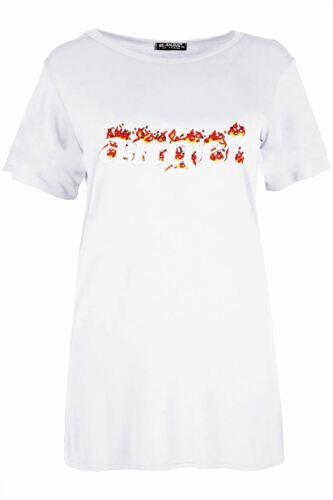 Femme Baggy Surdimensionné à mancherons simple Dames Basic Casual Jersey Tee T Shirt