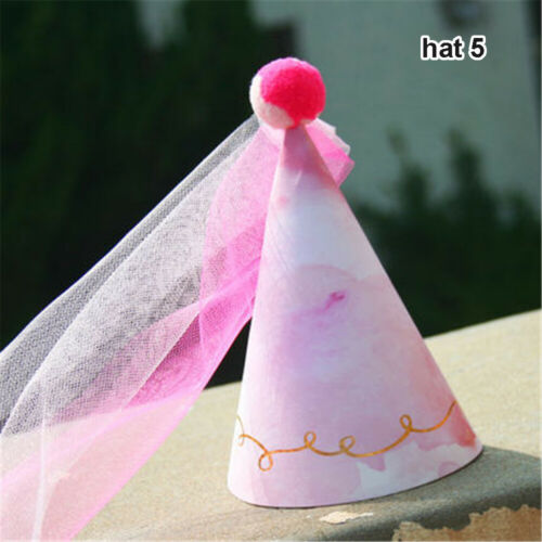 Rainbow Happy Glitter Number Paper Party Hats  Baby Shower Birthday Veil Caps