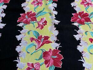 SALE-Hibiscus-on-Electric-Citron-Barkcloth-Era-Vintage-Fabric-Drape-Curtain-30s