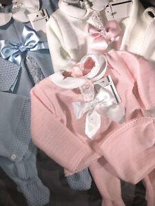 Spanish Knitted Romper Baby Girls Boys Jumper Pram Set 3 Pce Pink Blue 0-3 Mths