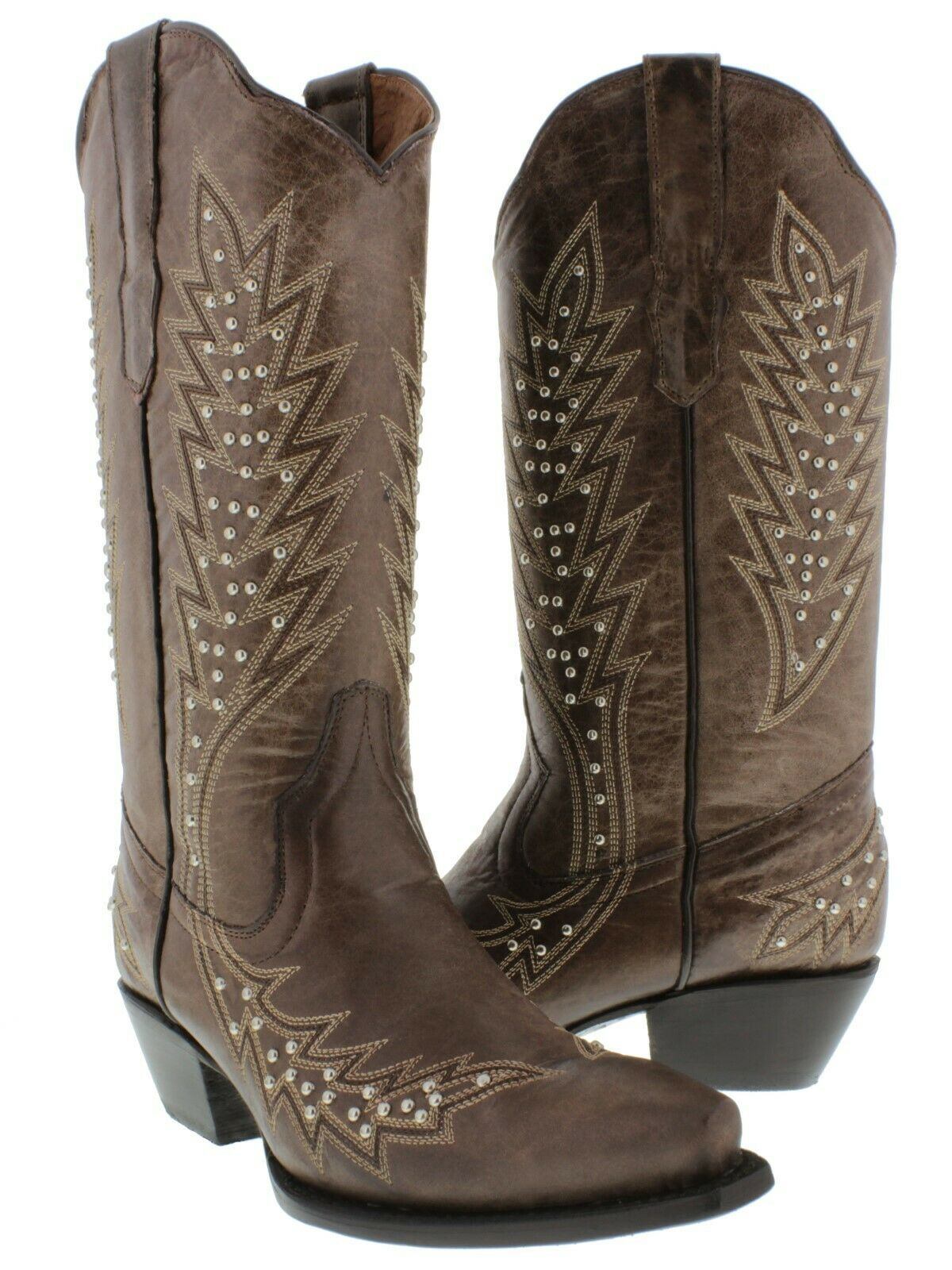 Womens Brown Western Cowgirl Boots Silver Studded Embroidered Snip Snip Snip Toe 729aec