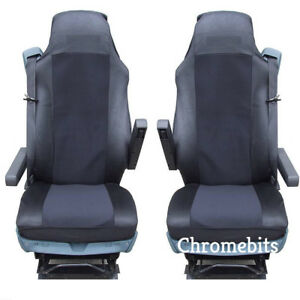 2-PAIR-BLACK-FABRIC-TAILORED-SEAT-COVERS-FOR-DAF-TRUCKS-XF95-XF105-XF-105-95-LF