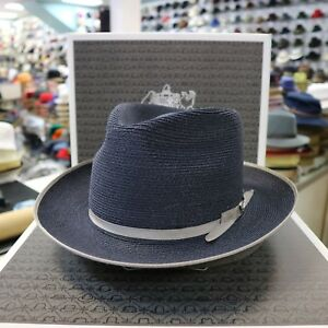 35f928509 Details about STETSON STRATOLINER SPECIAL EDITION NAVY C-CROWN DRESS HEMP  STRAW HAT