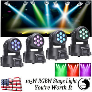 U King Moving Head Stage Light 4pcs 105w Rgbw Led Fixture