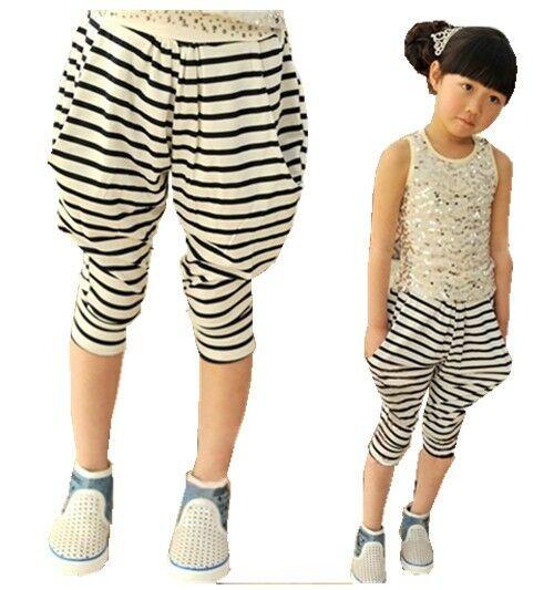 Kids Toddlers Boys Girls Stripe Iamge Capri Collapse Harem Pants 3-8 Y P264