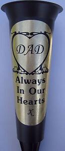 Black-Memorial-Grave-Flower-Vase-Personalised-HEART-DAD-In-Loving-Memory