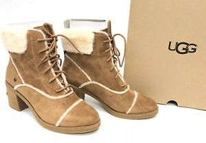44b287294cb Details about UGG Australia Esterly Boot BOOTS CHESTNUT Heels Lace Up  1095051 Heeled Suede