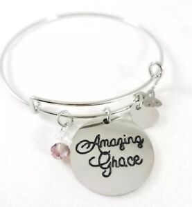 Details About Amazing Grace Charm Bangle Bracelet Stainless Steel Inspirational Jewelry New