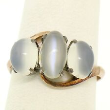 Antique Victorian 10k Rose Gold 3 Stone Oval Cabochon Cat's Eye Moonstone Ring