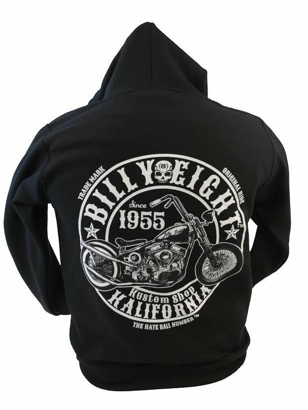 Kustom Shop KALIFORNIA-BILLY Eight-Felpa con cappuccio da uomo-stile biker, rock-A-BILLY USA