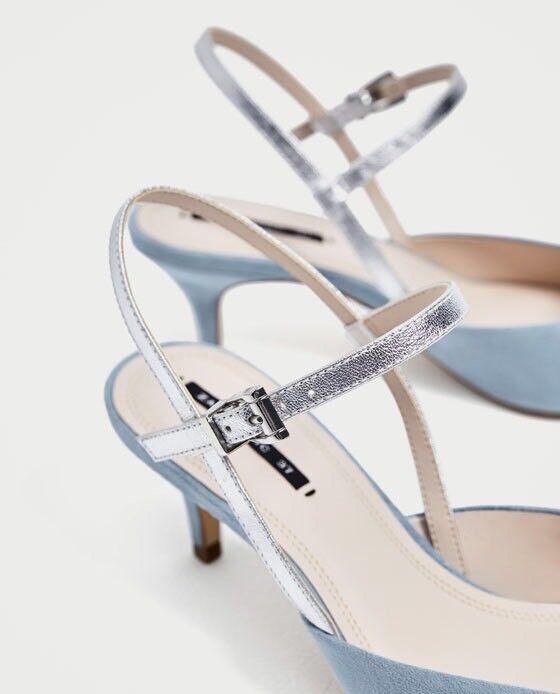 Zara Damens Contrasting EUR Slingback Heeled Schuhes Größe 9 EUR Contrasting 40 NWT fe9471