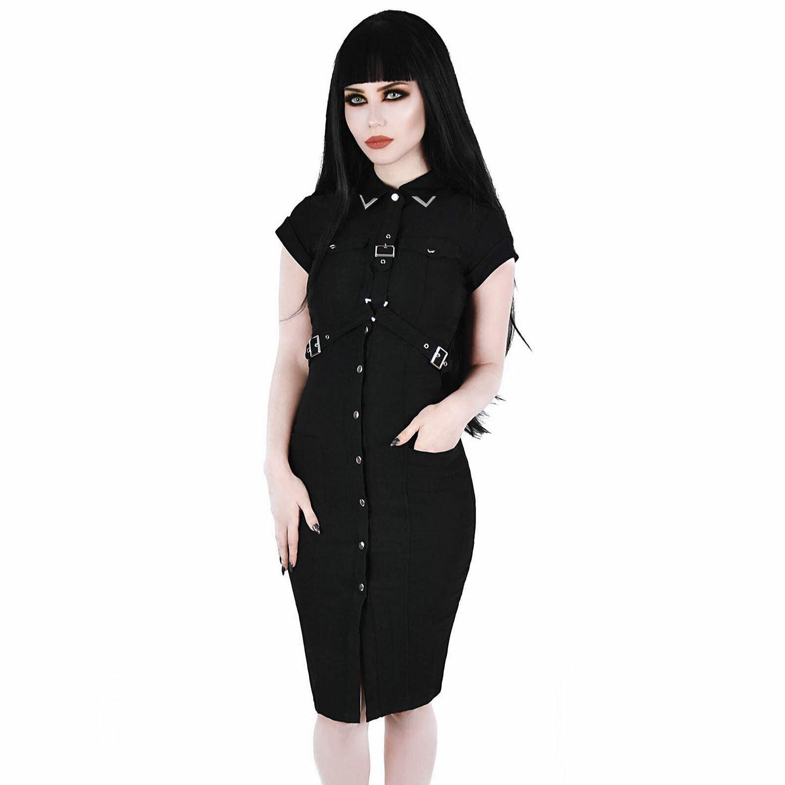 KILLSTAR Force Field Harness Dress Gothic Kleid Uniform Schwarz Snap-front