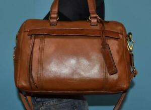 FOSSIL-039-MOLLY-039-Brown-Leather-crossbody-Shoulder-Satchel-Zip-Top-Purse-Hand-Bag