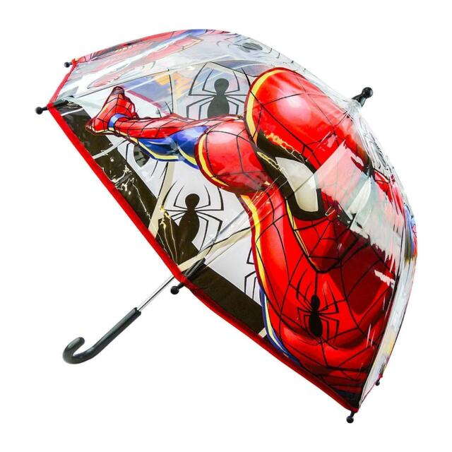 33923587f MARVEL SPIDERMAN UMBRELLA Dome Poe Bubble Clear Kids Childrens Official  Licensed