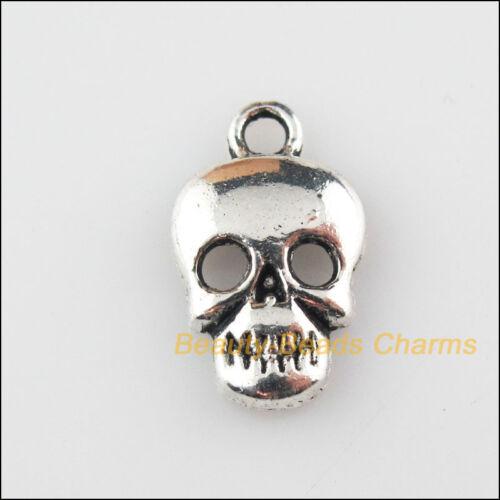 25Pcs Tibetan Silver Tone Halloween Skull Charms Pendants 9.5x16.5mm