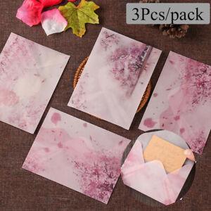 3pcs Romantic Sakura Acid Paper Envelopes Wedding Invitation