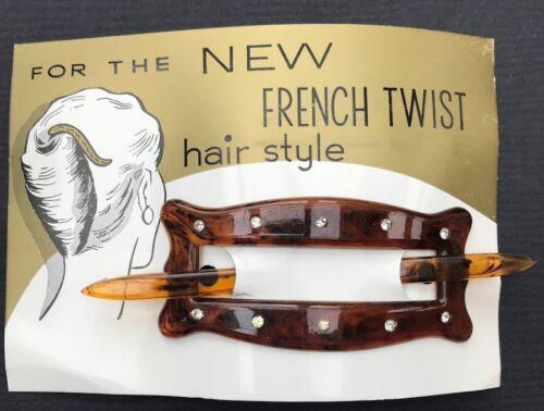 Vintage french Diamante /& Tortoiseshell 9 cm Hair Barrette