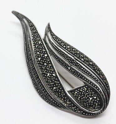 Art Deco style pin vintage 925 sterling silver Judith Jack Marcasites brooch pin antique sterling designer pin
