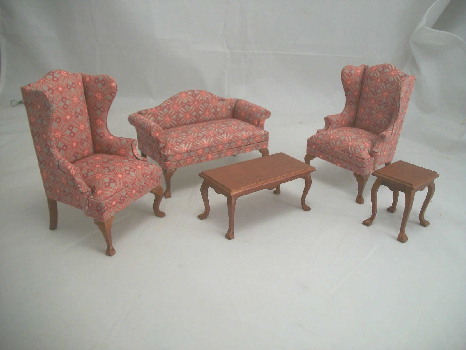 Family Living Room Set dollhouse miniatures 5pc T6854 1/12 scale Sofa Wing Chair