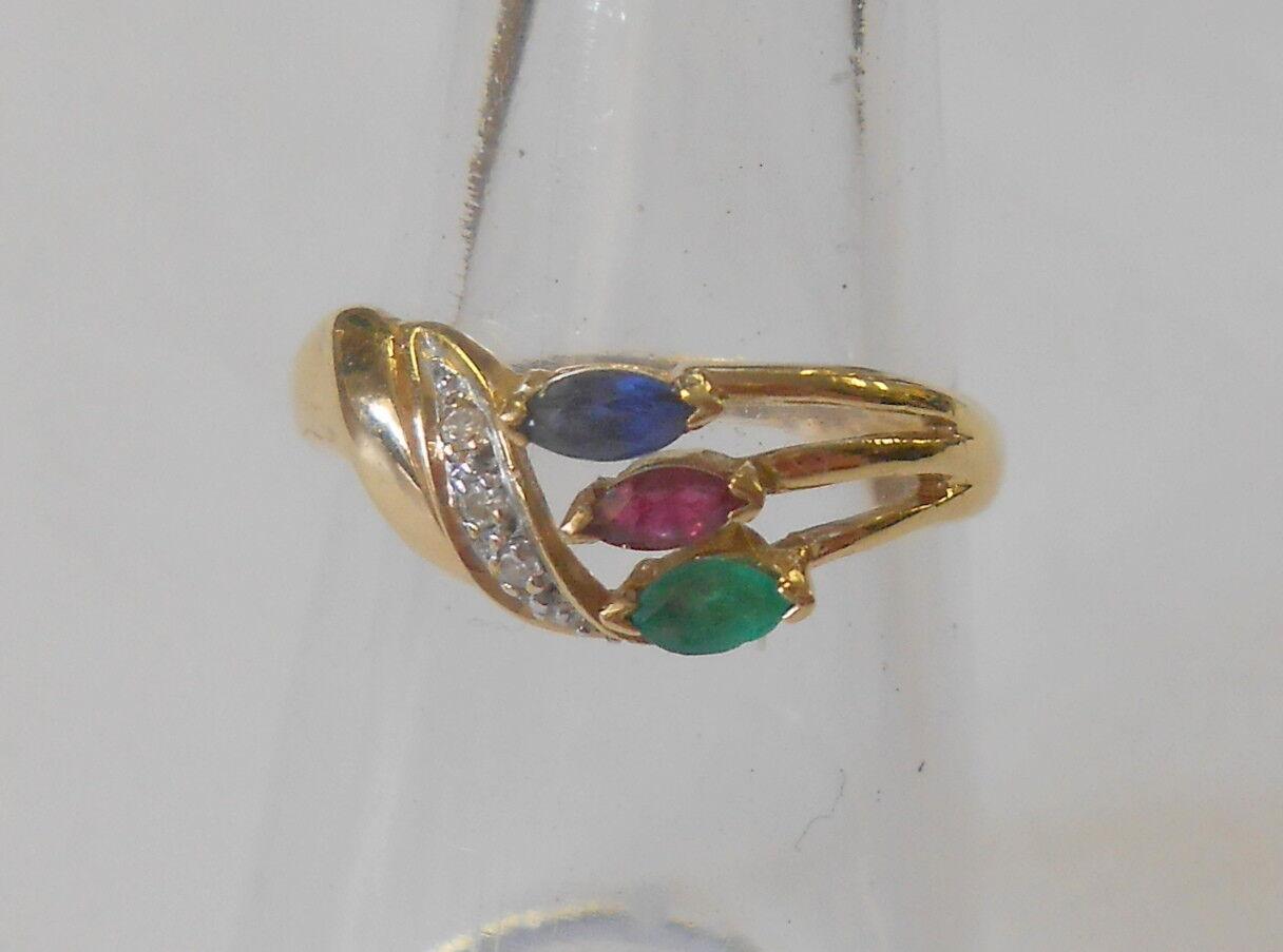 14K Yellow gold Diamond Emerald Sapphire Ruby Womens Ring Wave Design Size 6.75