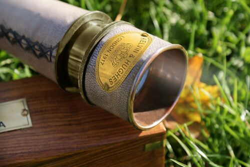 Nautical Antique Telescope With Brass Sundial Compass Antique Wooden Box Gift