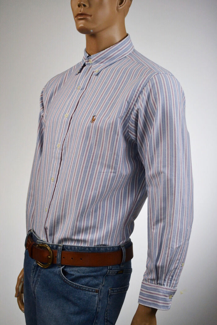 Ralph Lauren Classic Fit Oxford bluee,Cranberry & White Shirt  Pony 16 34 35 NWT