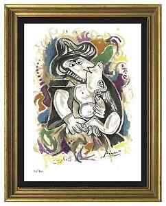 Pablo-Picasso-Signed-amp-Hand-Numbered-Ltd-Ed-034-The-Kiss-034-Litho-Print-unframed