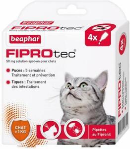 Lot de 4 pipettes Traitement Anti Puces et Anti Tiques au Fipronil Pour Chat