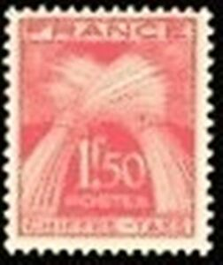 FRANCE-STAMP-TIMBRE-TAXE-N-71-034-TYPE-GERBES-1F50-ROUGE-034-NEUF-xx-TTB