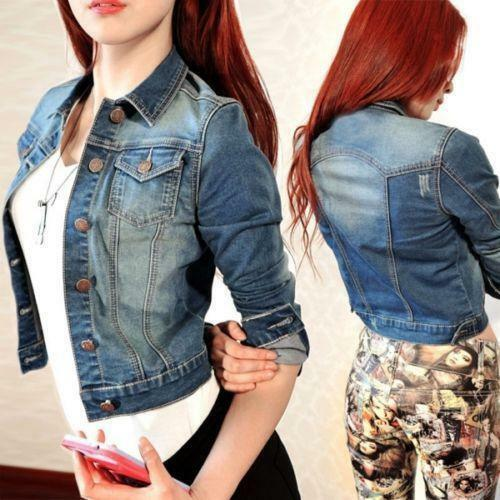 Womens Long Sleeve Coat Slim Denim Short Casual y6 Jean Jacket Outerwear