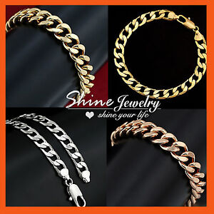 MENS-WOMENS-SILVER-ROSE-GOLD-FILLED-CURB-RINGS-LINKS-CHAIN-BRACELET-JEWELRY