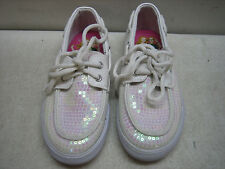 DISNEY LIV & MADDIE WHITE SEQUIN BOAT SHOES SNEAKERS GIRLS SIZE 11 1/2